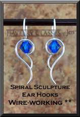 Spiral Sculpture Ear Hooks 2x3 WB