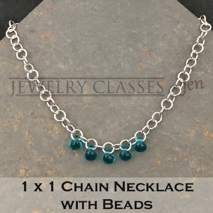 Hand-made Chain Necklace with glass beads